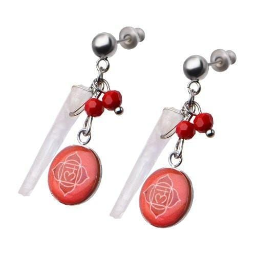 Silver Stainless Steel Red Quartz Crystal Roots Chakra Earrings Earrings