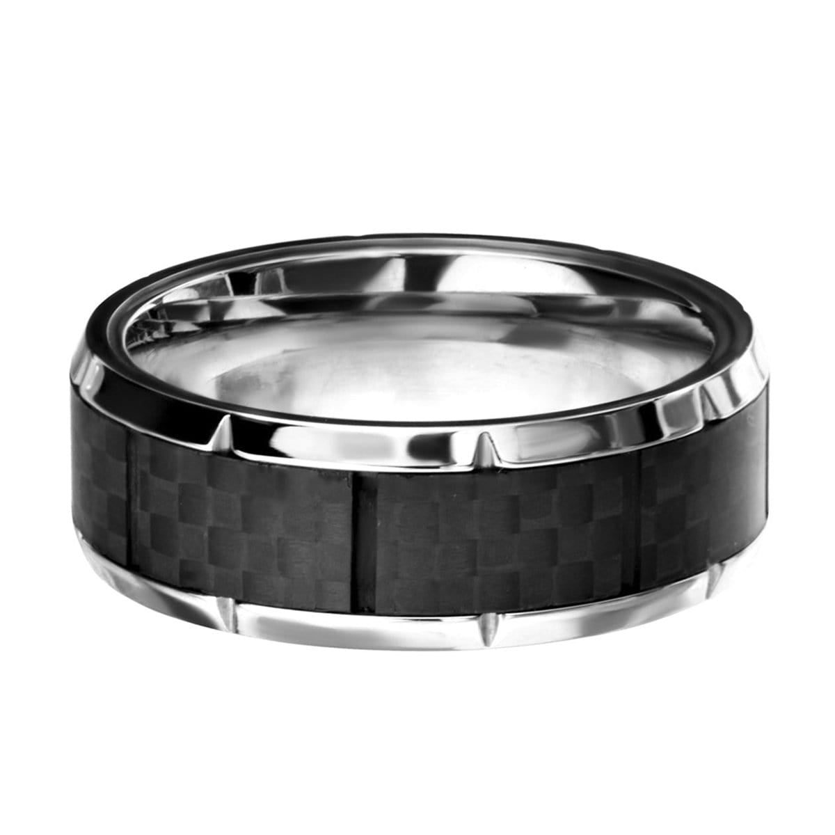 Silver Stainless Steel Ridged Edge with Center Solid Carbon Fiber Band Rings
