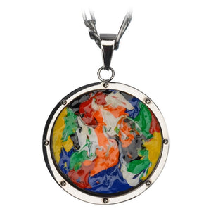 Silver Stainless Steel Roberto Arichi Collection Hand Painted on Wood Medallion Pendant Pendants