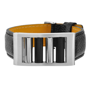 Silver Stainless Steel Rolling Buckle Black Leather Bracelet Bracelets