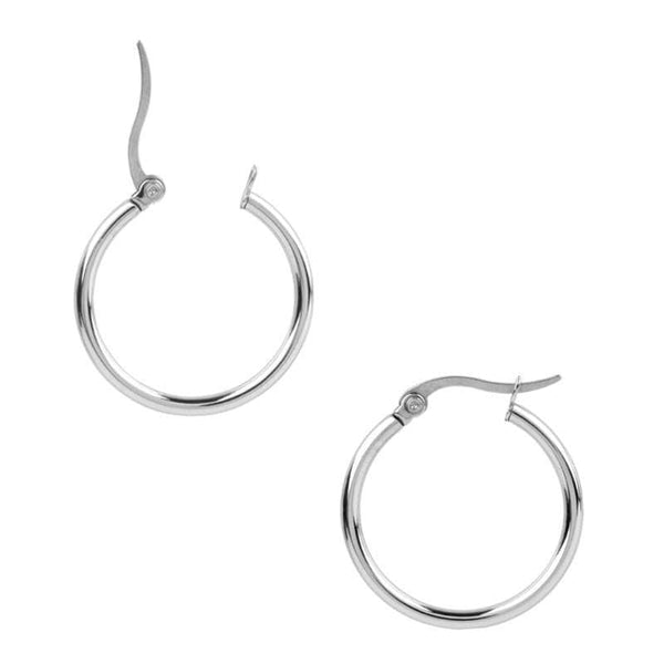 Silver Stainless Steel Round Polished Classic Hoops Earrings