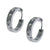 Silver Stainless Steel Single Row Large White CZ Huggies Earrings