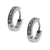 Silver Stainless Steel Single Row Small White CZ Huggies Earrings