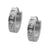Silver Stainless Steel Single Row White Princess-Cut CZ Huggies Earrings