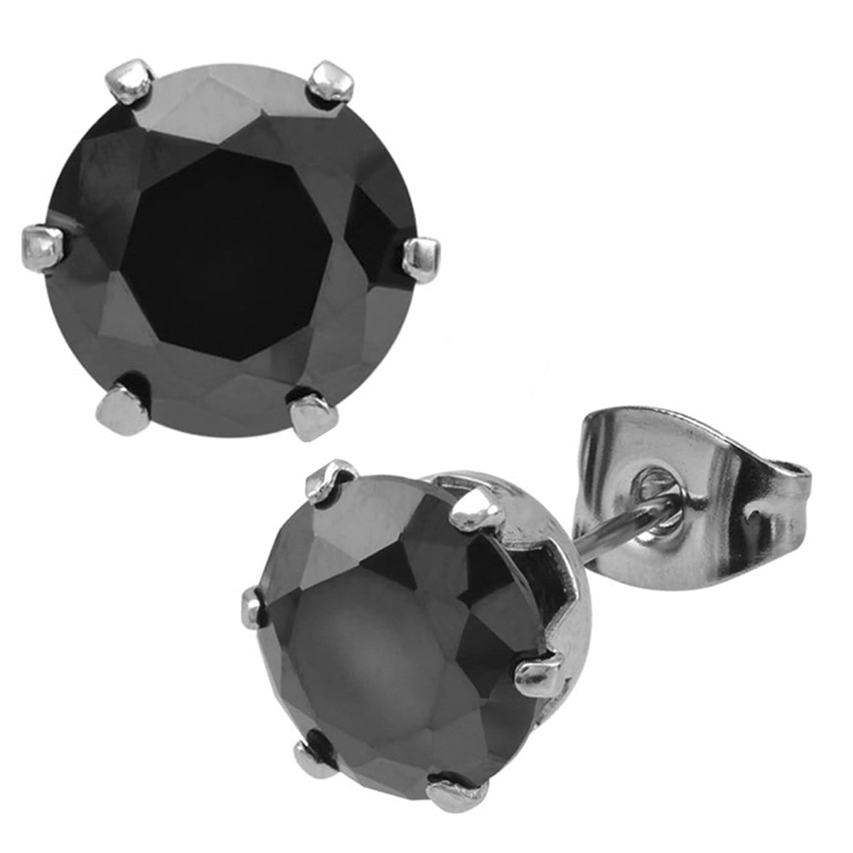 Silver Stainless Steel Six Prong Black CZ Solitaire Studs Earrings