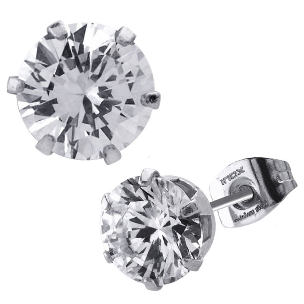 Silver Stainless Steel Six Prong White CZ Solitaire Studs Earrings