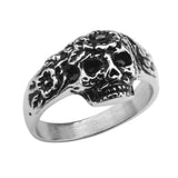 Silver Stainless Steel Skull with Carved Flowers Ring