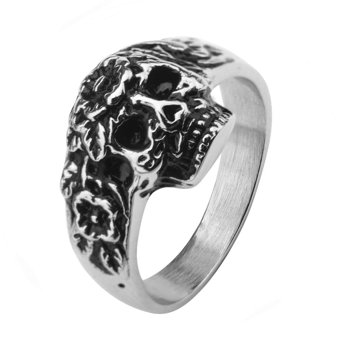Stainless Steel Skull With Flowers Ring
