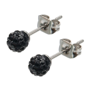 Silver Stainless Steel Small Black Ferido Design Crystal Ball Studs Earrings