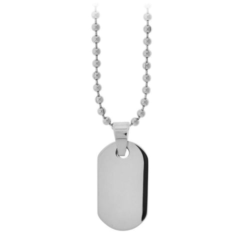 Silver Stainless Steel Small Engraveable Classic ID Tag Pendant Pendants