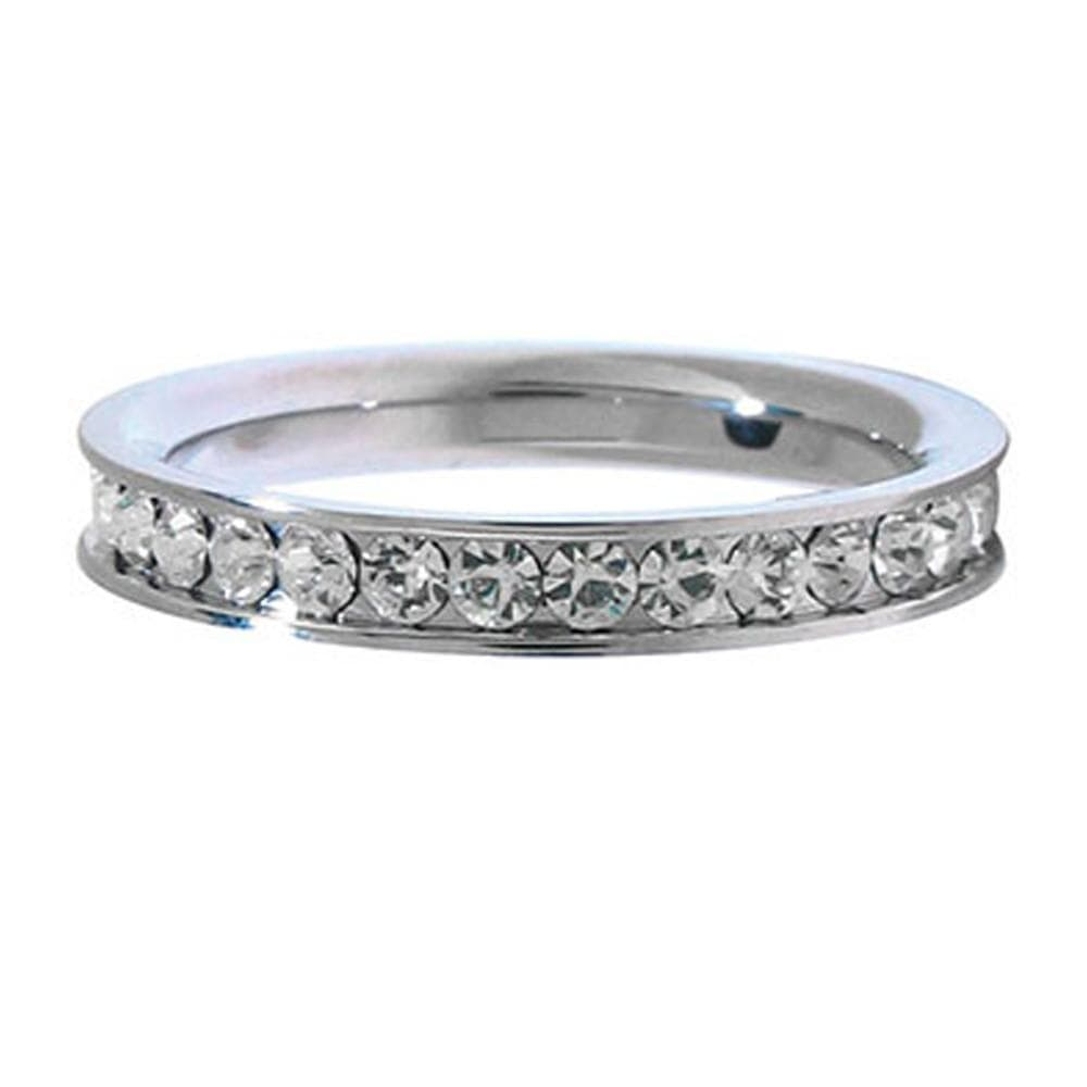 Silver Stainless Steel Small Eternity Design CZ Stone Ring Rings