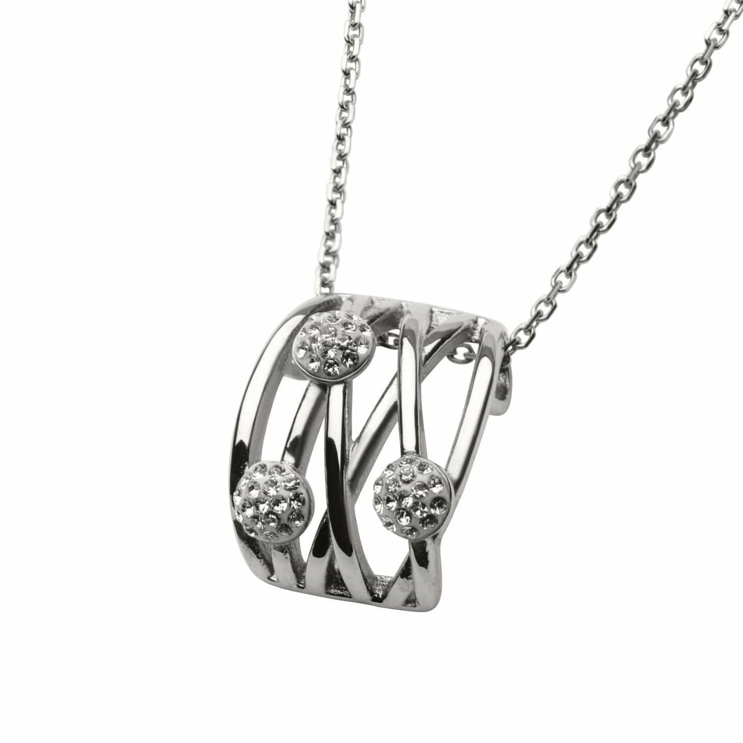 Silver Stainless Steel Sophisticated Crystal Pendant Pendants