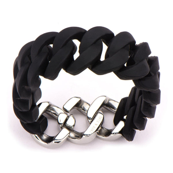 Silver Stainless Steel Stack Up Collection Black Silicone Curb Bracelet Bracelets