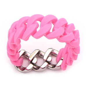 Silver Stainless Steel Stack Up Collection Pink Silicone Curb Bracelet Bracelets