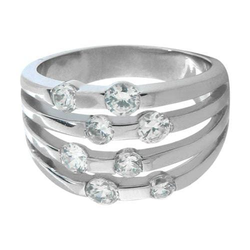 Silver Stainless Steel Stacked Cut-Out Band with White CZ Rings