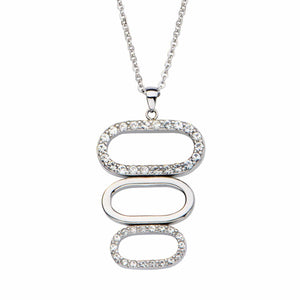 Silver Stainless Steel Three Oval CZ Pendant Pendants