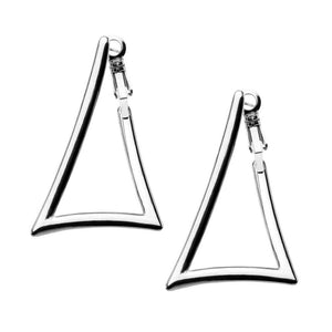 Silver Stainless Steel Triangle Cut-Out Hoops Earrings