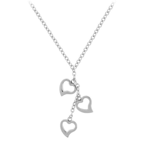 Silver Stainless Steel Triple Heart Necklace Chains