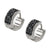 Silver Stainless Steel Triple Row Black Crystal Huggies Earrings