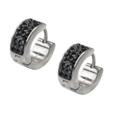 Silver Stainless Steel Triple Row Black Crystal Huggies