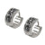Silver Stainless Steel Triple Row Dark Gray Hematite Huggies Earrings