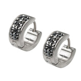 Silver Stainless Steel Triple Row Dark Gray Hematite Huggies
