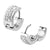 Silver Stainless Steel Triple Row White Crystal Huggies Earrings