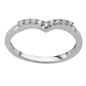 Silver Stainless Steel Twinkle Collection White CZ Chevron Ring Rings