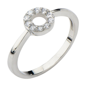 Silver Stainless Steel Twinkle Collection White CZ Circle Ring Rings