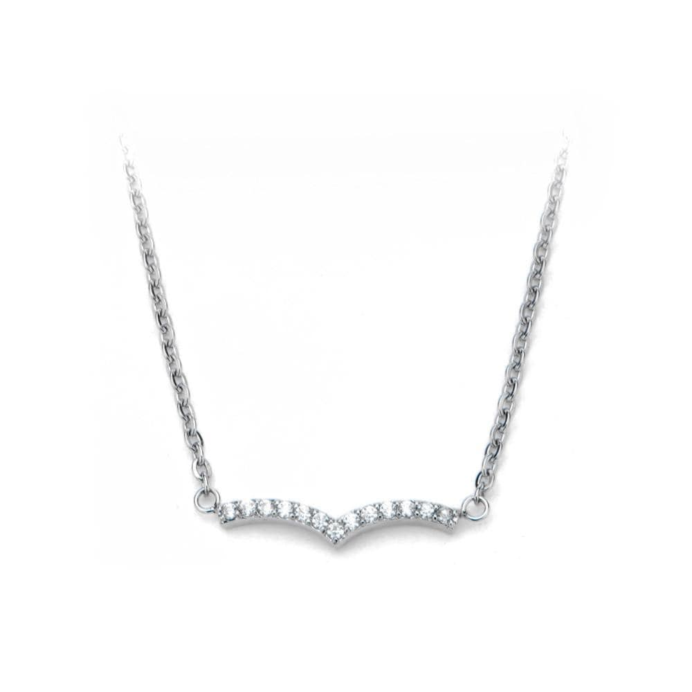 Silver Stainless Steel Twinkle White CZ Chevron Necklace Pendants