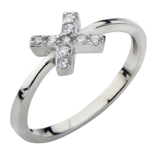 Silver Stainless Steel Twinkle White CZ Classic X Ring Rings