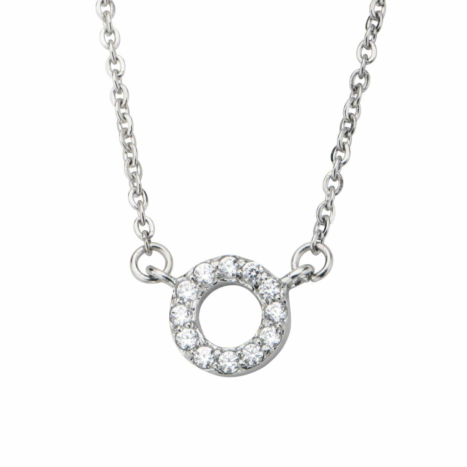 Silver Stainless Steel Twinkle White CZ Ring Necklace Pendants