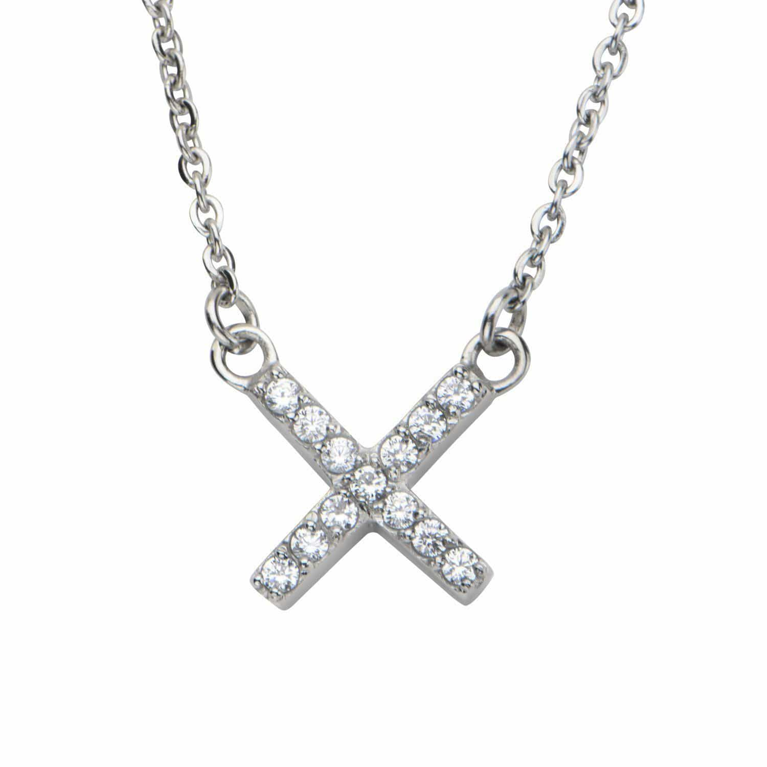 Silver Stainless Steel Twinkle White CZ 'X' Necklace Pendants