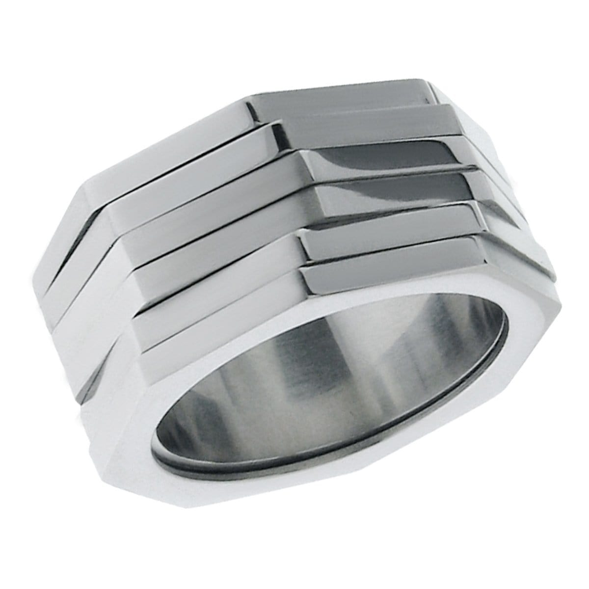 Silver Stainless Steel Uneven Jagged-Edge Spinner Ring