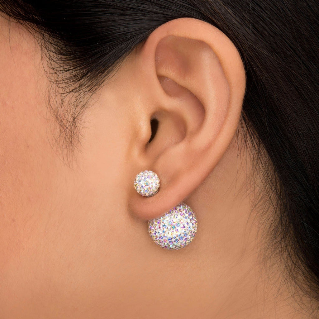 Silver Stainless Steel Vivid Crystal Aurora Borealis Double Ball Studs Earrings
