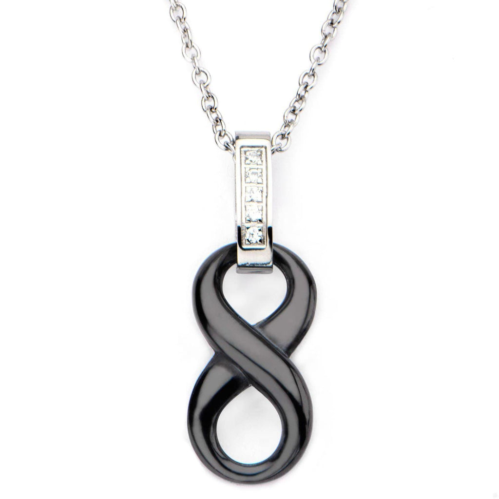 Silver Stainless Steel White CZ Black Infinity Ceramic Pendant Pendants