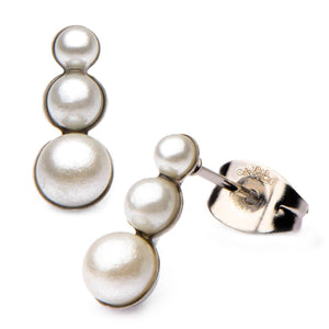Silver Stainless Steel & White Imitation Pearl Graduated Drop Earrings Earrings