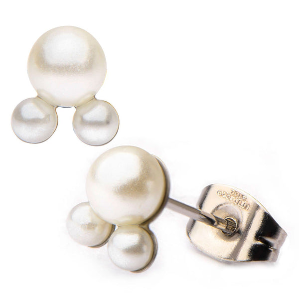 Silver Stainless Steel & White Imitation Three Mini-Pearl Studs Earrings