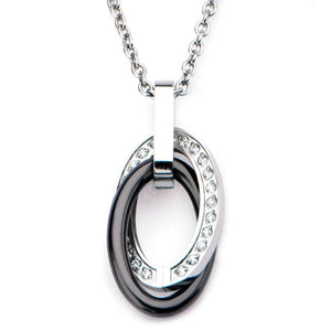 Silver Stainless Steel with Black Ceramic Double Oval with CZ Detail Pendant Pendants