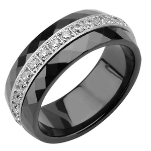 Silver Stainless Steel with Black Ceramic & White CZ Detail Ring Rings