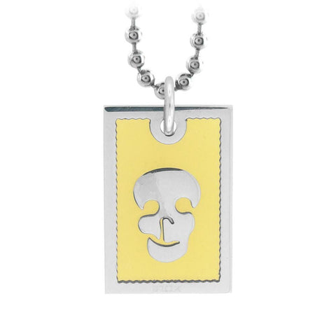 Silver Stainless Steel with Bright Yellow Glass and Skull Design Pendant Pendants