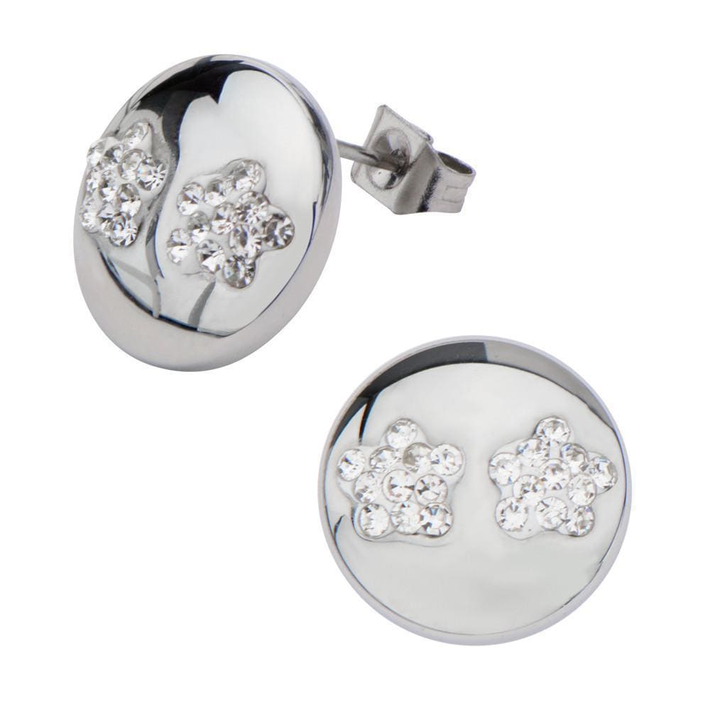 Silver Stainless Steel with Clear Pave Set Crystal Floral Studs Earrings