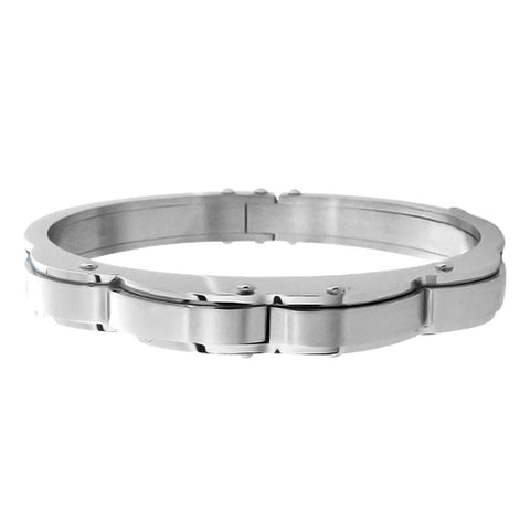 Silver Stainless Steel with Curved Detail Slide-On Kadaa Bracelets