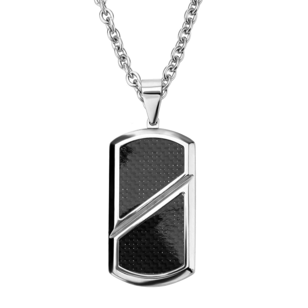 Silver Stainless Steel with Inlaid Black Carbon Fiber ID Tag Pendants