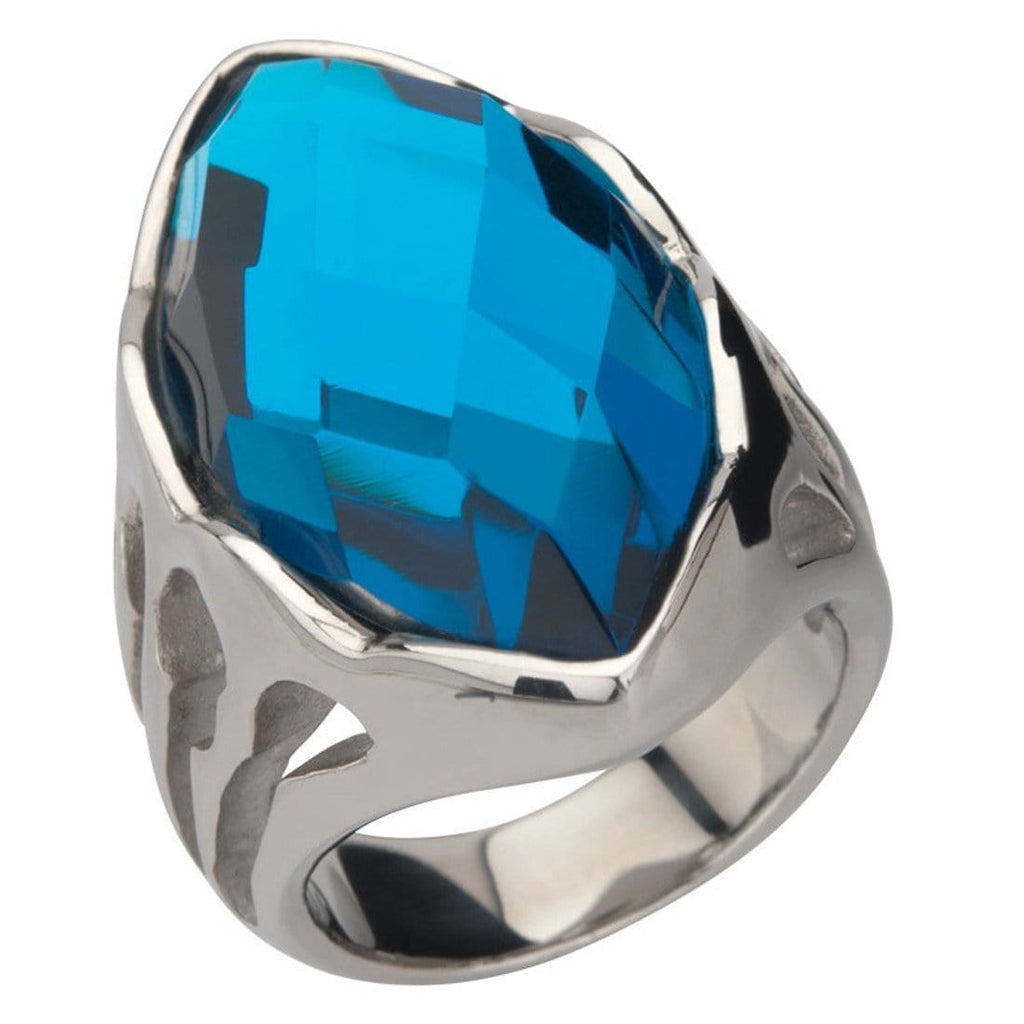 Silver Stainless Steel with Large Blue Crystal Cocktail Ring Rings