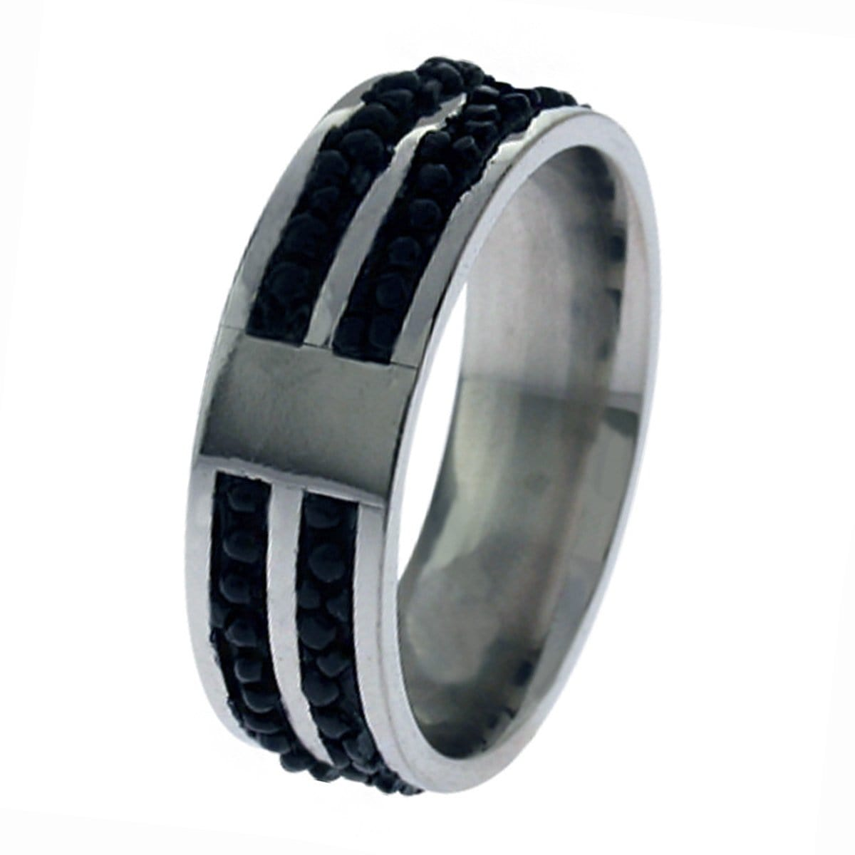 Silver Stainless Steel with Small Black Bead Ring Rings
