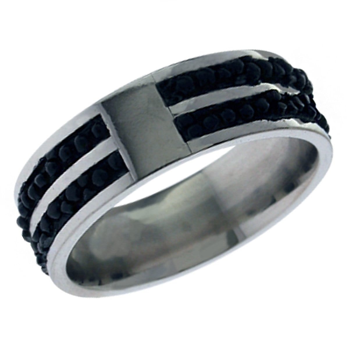 Silver Stainless Steel with Small Black Bead Ring