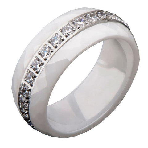 Silver Stainless Steel with White Ceramic & White CZ Detail Ring Rings