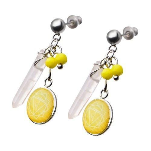 Silver Stainless Steel Yellow Quartz Solar Plexus Chakra Earrings Earrings