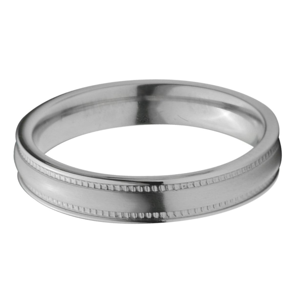 Silver Titanium 4mm Fancy Groove Border Band